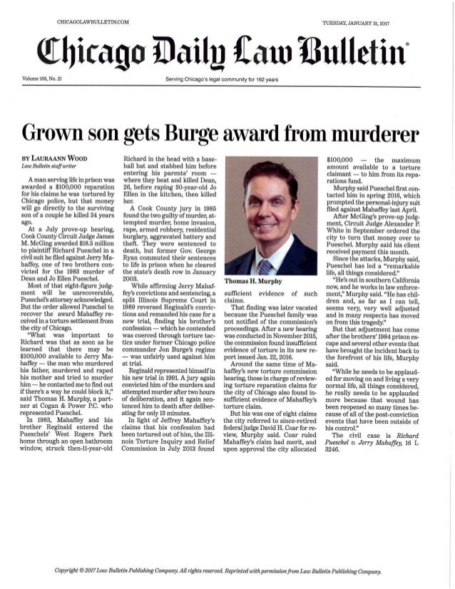 Grown Son Gets Burge Award From Murderer