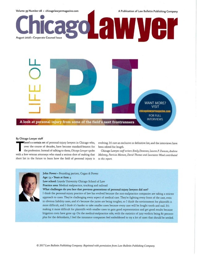 Joh Power Featured in Chicago Lawyer Magazine