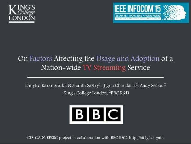 On Factors Affecting the Usage and Adoption of a Nation-wide TV Streaming Service Dmytro Karamshuk1, Nishanth Sastry1, Jig...