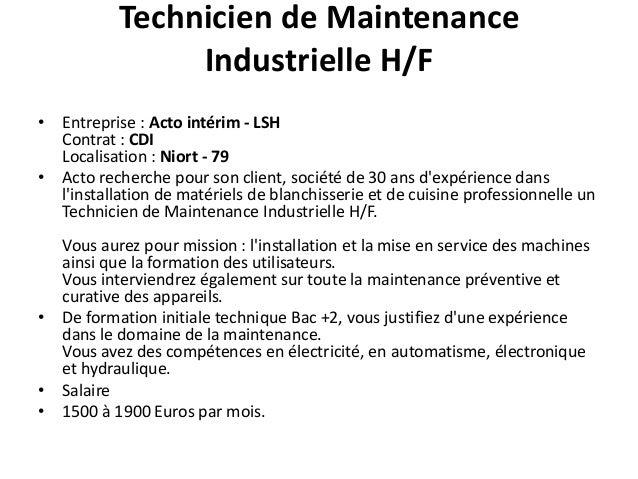 Informatique commercial recrutement poitou charente - Grille salaire technicien maintenance industrielle ...