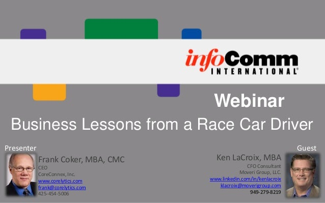 Webinar Business Lessons from a Race Car Driver Guest  Presenter  Frank Coker, MBA, CMC CEO CoreConnex, Inc. www.corelytic...