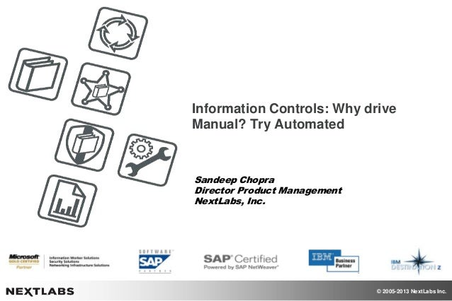 © 2005-2013 NextLabs Inc. Information Controls: Why drive Manual? Try Automated Sandeep Chopra Director Product Management...