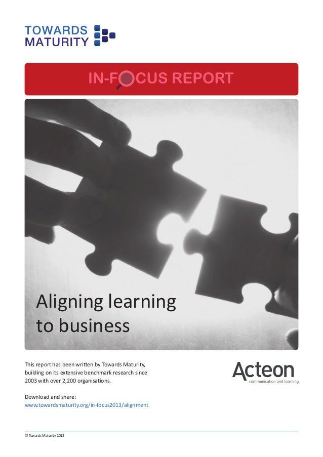 Aligning learningto business