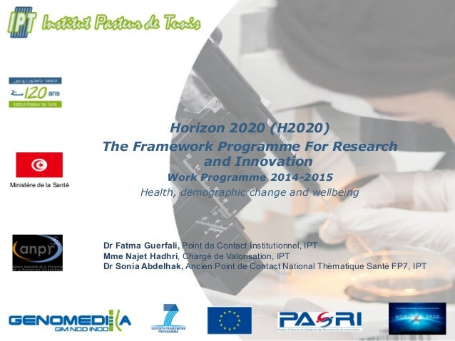 Ministère de la Santé Horizon 2020 (H2020) The Framework Programme For Research and Innovation Work Programme 2014-2015 He...
