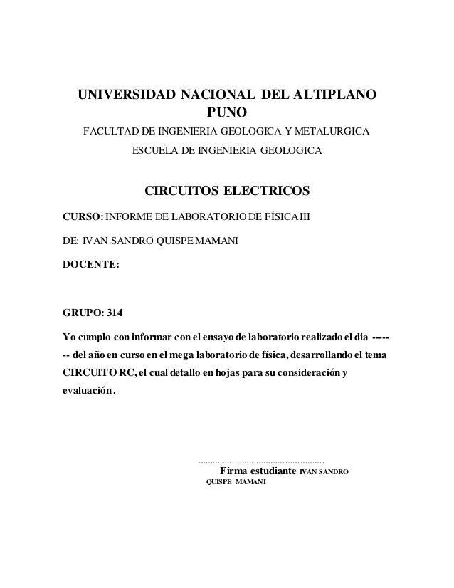 UNIVERSIDAD NACIONAL DEL ALTIPLANO PUNO FACULTAD DE INGENIERIA GEOLOGICA Y METALURGICA ESCUELA DE INGENIERIA GEOLOGICA CIR...