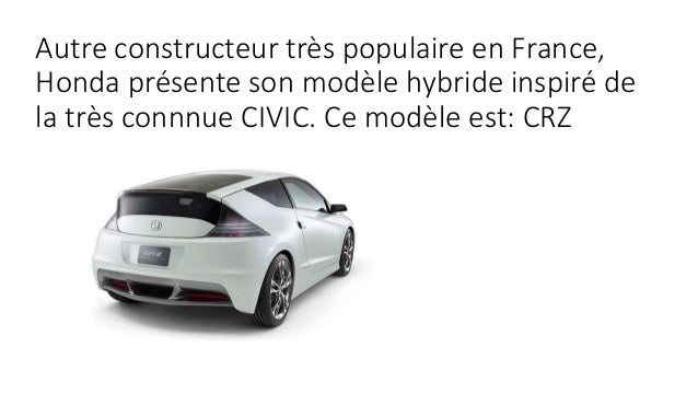 Autre constructeur très populaire en France, Honda présente son modèle hybride inspiré de la très connnue CIVIC. Ce modèle...