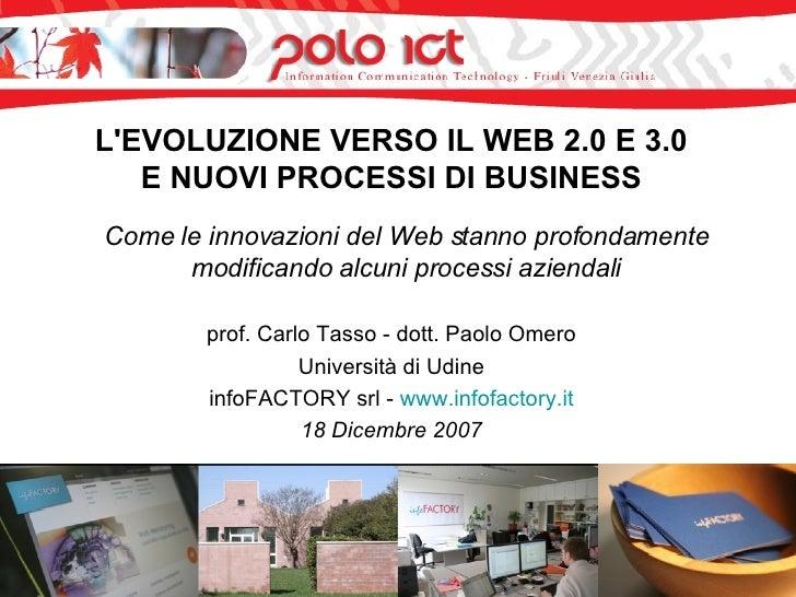 L'EVOLUZIONE VERSO IL WEB 2.0 E 3.0 E NUOVI PROCESSI DI BUSINESS <ul><li>Come le innovazioni del Web stanno profondamente ...