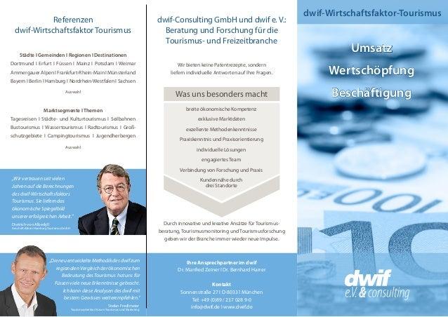 dwif-Wirtschaftsfaktor-Tourismus Umsatz Wertschöpfung Beschäftigung dwif-Consulting GmbH und dwif e. V.: Beratung und Fors...