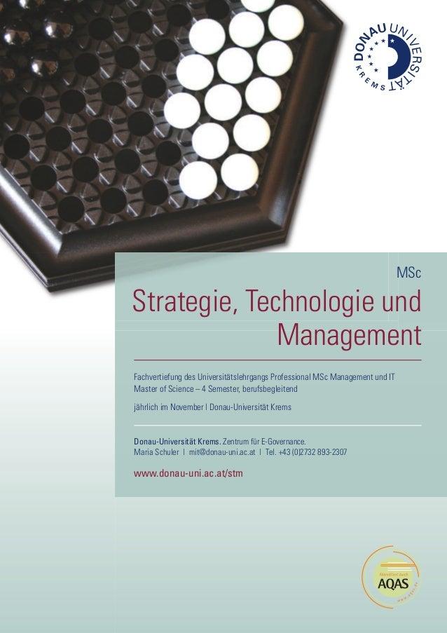 Fachvertiefung des Universitätslehrgangs Professional MSc Management und IT Master of Science – 4 Semester, berufsbegleite...