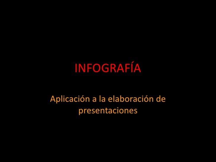 INFOGRAFÍA  Aplicación a la elaboración de        presentaciones