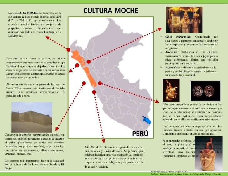 La CULTURA MOCHE se desarrolló en la                  CULTURA MOCHE   costa norte de nuestro país entre los años 200   d.C...