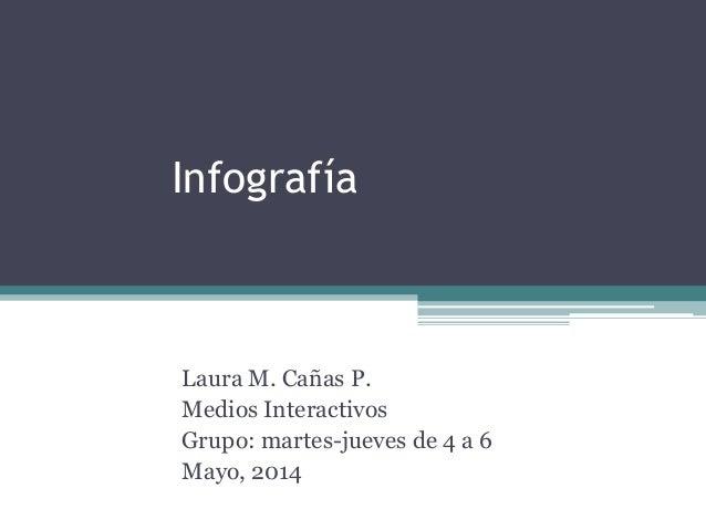 Infografía Laura M. Cañas P. Medios Interactivos Grupo: martes-jueves de 4 a 6 Mayo, 2014