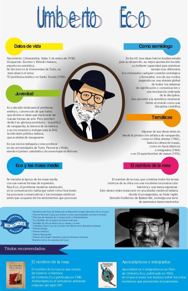 Umberto Eco Datos de vida Nacimiento: (Alessandria, Italia; 5 de enero de 1932) Ocupación: Escritor y filósofo italiano, e...