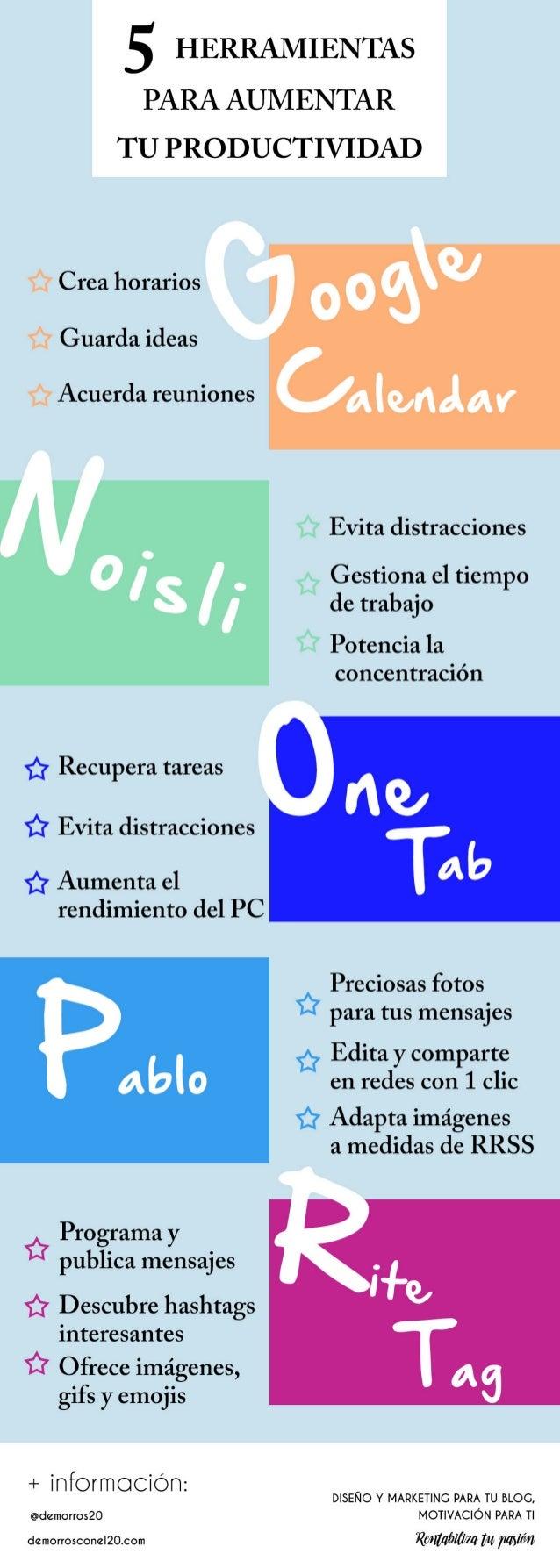 Infografia 5 herramientas maravillosas para aumentar tu productividad