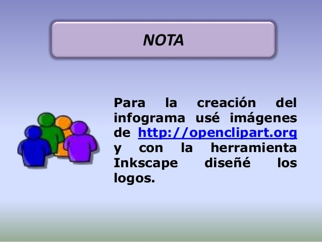 Para la creación delinfograma usé imágenesde http://openclipart.orgy con la herramientaInkscape diseñé loslogos.NOTA