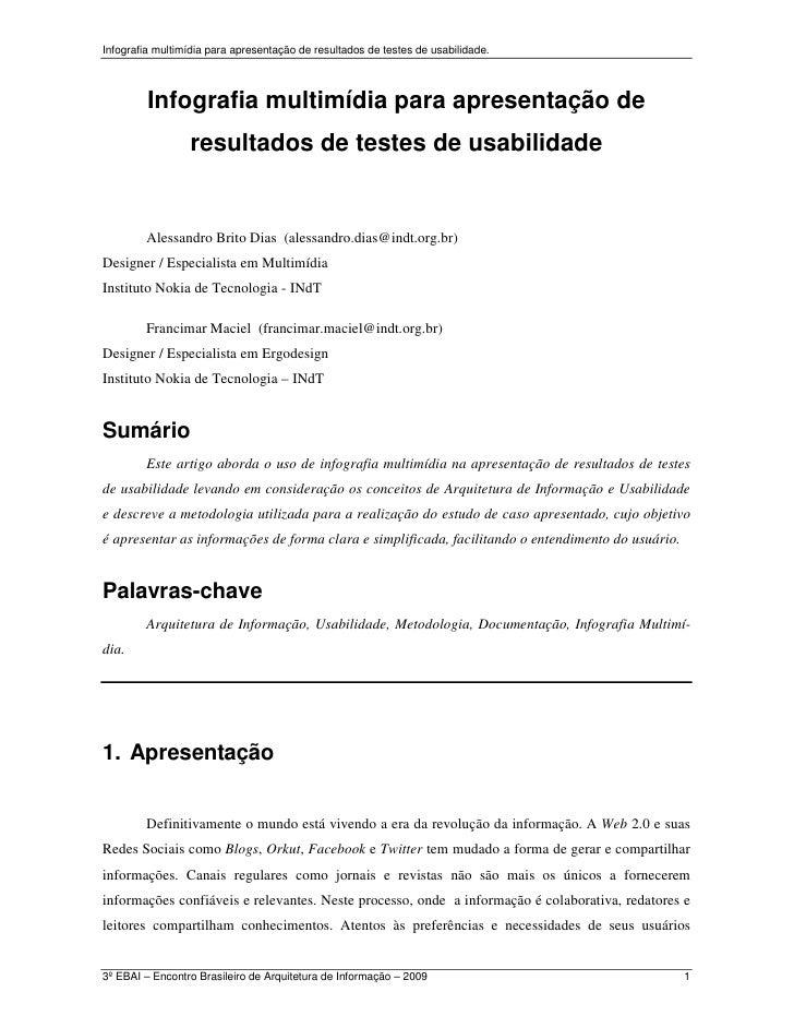 Infografia multimídia para apresentação de resultados de testes de usabilidade.         Infografia multimídia para apresen...