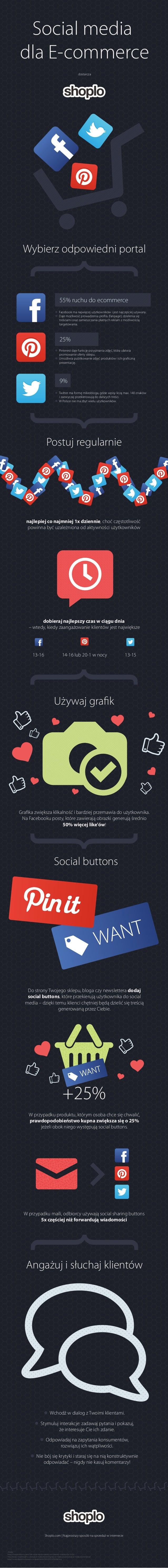 Social media dla E-commerce dostarcza  Wybierz odpowiedni portal  55% ruchu do ecommerce  Facebook ma najwięcej użytkowni...