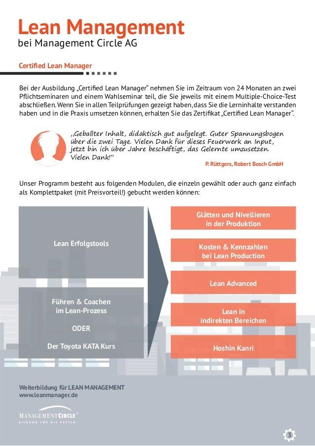 3 Weiterbildung für LEAN MANAGEMENT www.leanmanager.de Certified Lean Manager Lean Erfolgstools Kosten & Kennzahlen bei Le...