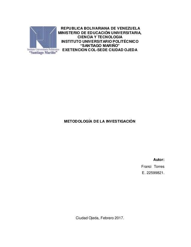 REPUBLICA BOLIVARIANA DE VENEZUELA MINISTERIO DE EDUCACIÓN UNIVERSITARIA, CIENCIA Y TECNOLOGIA INSTITUTO UNIVERSITARIO POL...