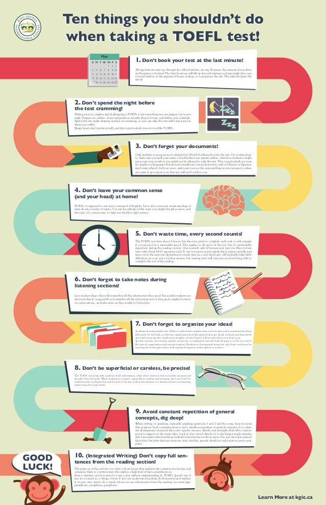 Ten things you shouldn't do when taking a TOEFL test! Ten things you shouldn't do when taking a TOEFL test! 1. Don't book ...