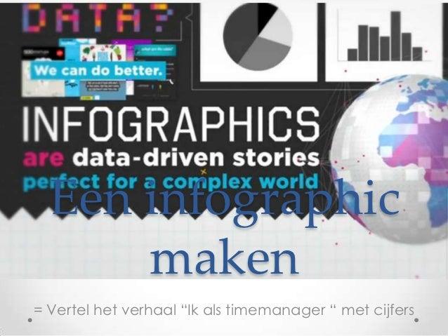 """Een infographic      maken= Vertel het verhaal """"Ik als timemanager """" met cijfers"""