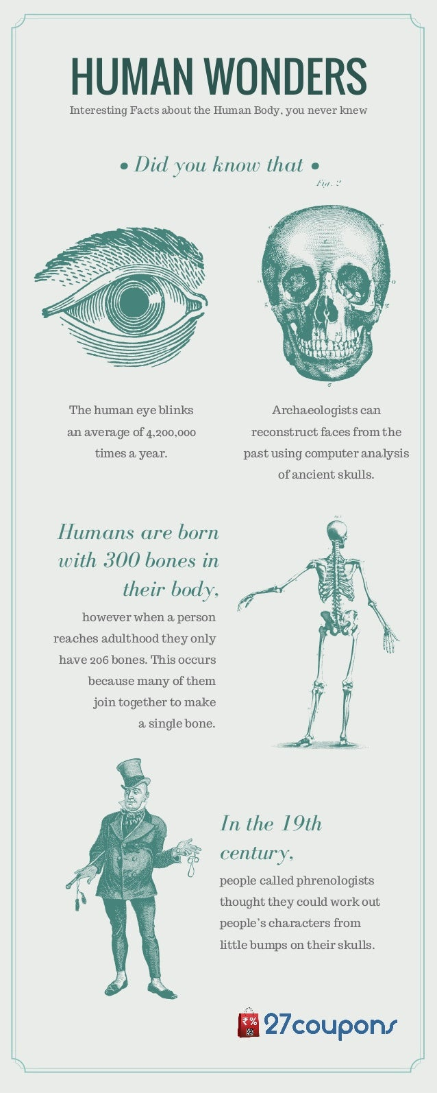 HUMAN WONDERSInteresting Facts about the Human Body, you never knew people called phrenologists thought they could work ou...