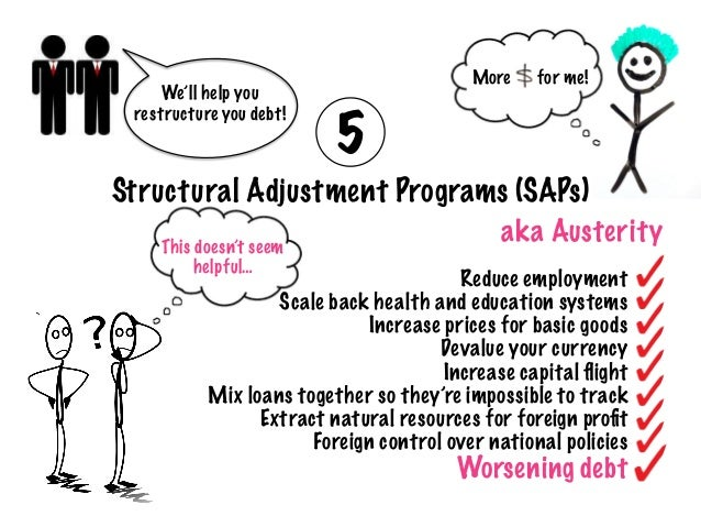 the uses of the structural adjustment programs 2 while the world bank introduced sectoral adjustment loans in 1984 as the mechanism for structural adjustment, they are essentially the same as saas (harrigan and mosley 1991, 31) therefore, for the purpose of this article we will refer to those as structural adjustment programs.