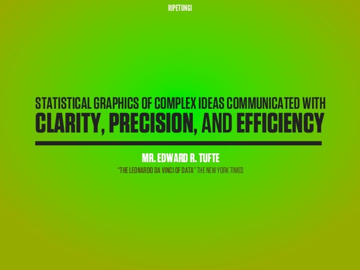 RIPETUNGISTATISTICAL GRAPHICS OF COMPLEX IDEAS COMMUNICATED WITHCLARITY, PRECISION, AND EFFICIENCY                        ...