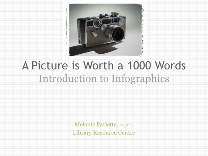 A Picture is Worth a 1000 Words   Introduction to Infographics           Melanie Parlette, BA, MLIS          Library Resou...