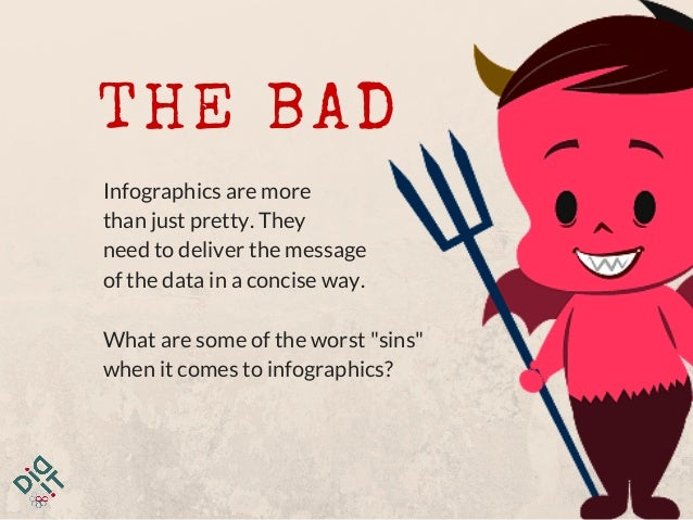 THE BAD Infographics are more than just pretty. They need to deliver the message of the data in a concise way. What are so...