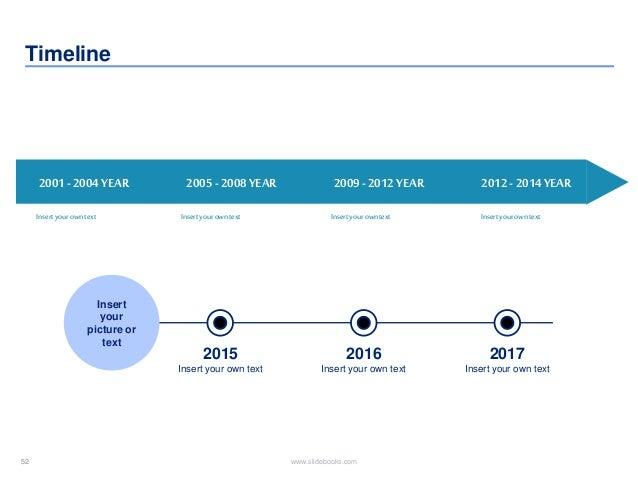52 www.slidebooks.com52 Timeline 2001-2004YEAR Insertyourowntext 2005-2008YEAR 2009-2012YEAR 2012-2014YEAR Insertyourownte...