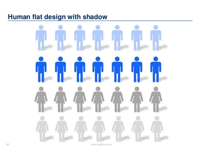 57 www.slidebooks.com57 Human flat design with shadow