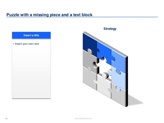 68 www.slidebooks.com68 Puzzle with a missing piece and a text block Strategy • Insert your own text Insert a title