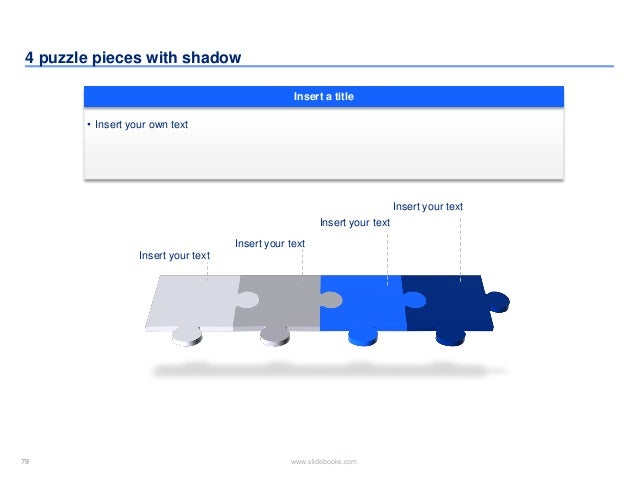 79 www.slidebooks.com79 4 puzzle pieces with shadow • Insert your own text Insert a title Insert your text Insert your tex...