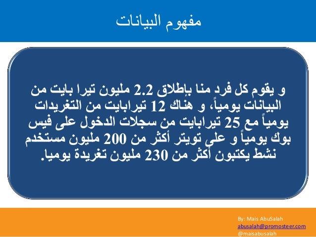 By: Mais AbuSalah abusalah@promosteer.com @maisabusalah اىثٞاّاخ ًٍٖ٘ف ثئؽالق ِٕب فشد ًو َٛ٠م ٚ2.2ِٓ ثب٠ذ ...