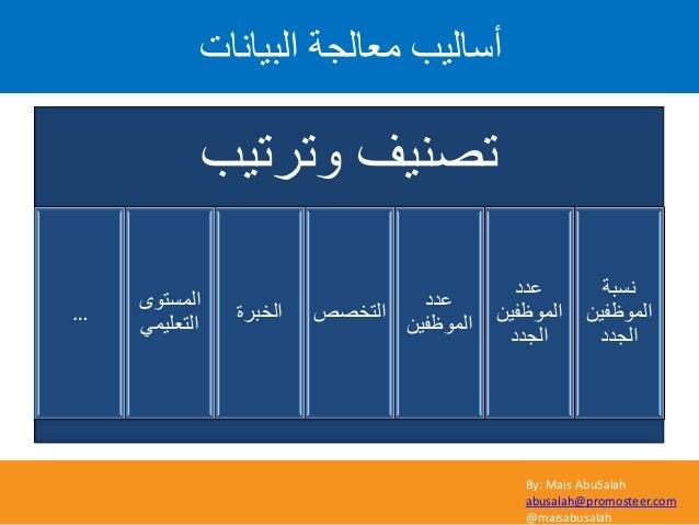 By: Mais AbuSalah abusalah@promosteer.com @maisabusalah اىثٞاّاخ ٍؼاىعح أصاىٞة وترتٌب تصنٌف نسبة الموظفٌن ا...