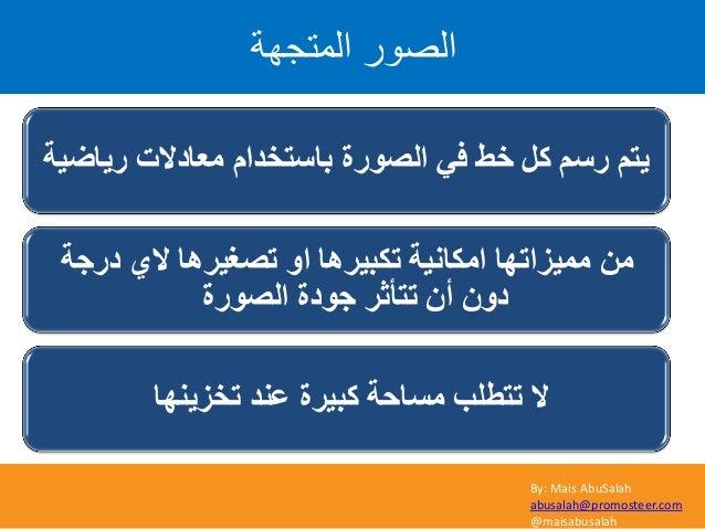 By: Mais AbuSalah abusalah@promosteer.com @maisabusalah اىَرعٖح اىص٘س س٠بػ١خ ِؼبدالد َثبعزخذا اٌظٛسح ٟف خؾ...
