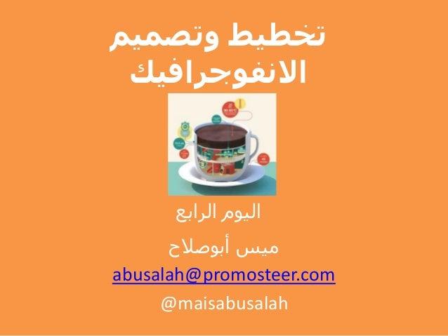 وتصميم تخطيط االنفوجرافيك الرابع اليوم أبوصالح ميس abusalah@promosteer.com @maisabusalah