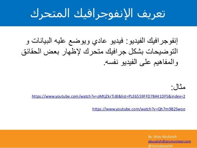 By: Mais AbuSalah abusalah@promosteer.com @maisabusalah المتحرك اإلنفوجرافيك تعريف الفيديو إنفوجرافيك:و البيا...