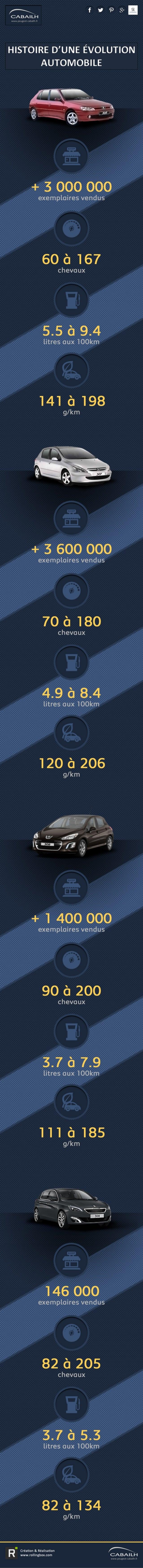 Infographie Peugeot 306 à 308