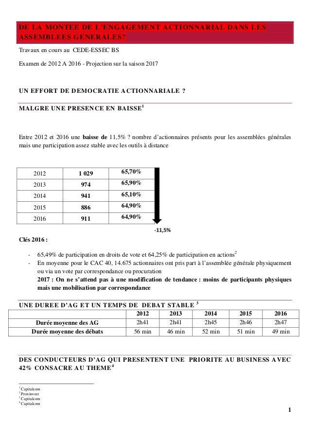 1 DE LA MONTEE DE L'ENGAGEMENT ACTIONNARIAL DANS LES ASSEMBLEES GENERALES? Travaux en cours au CEDE-ESSEC BS Examen de 201...