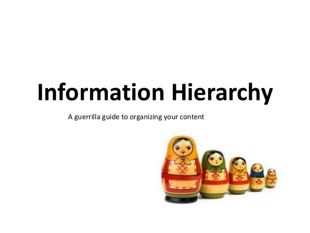 Information Hierarchy A guerrilla guide to organizing your content