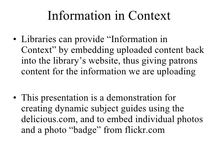 Information in Context Slide 3