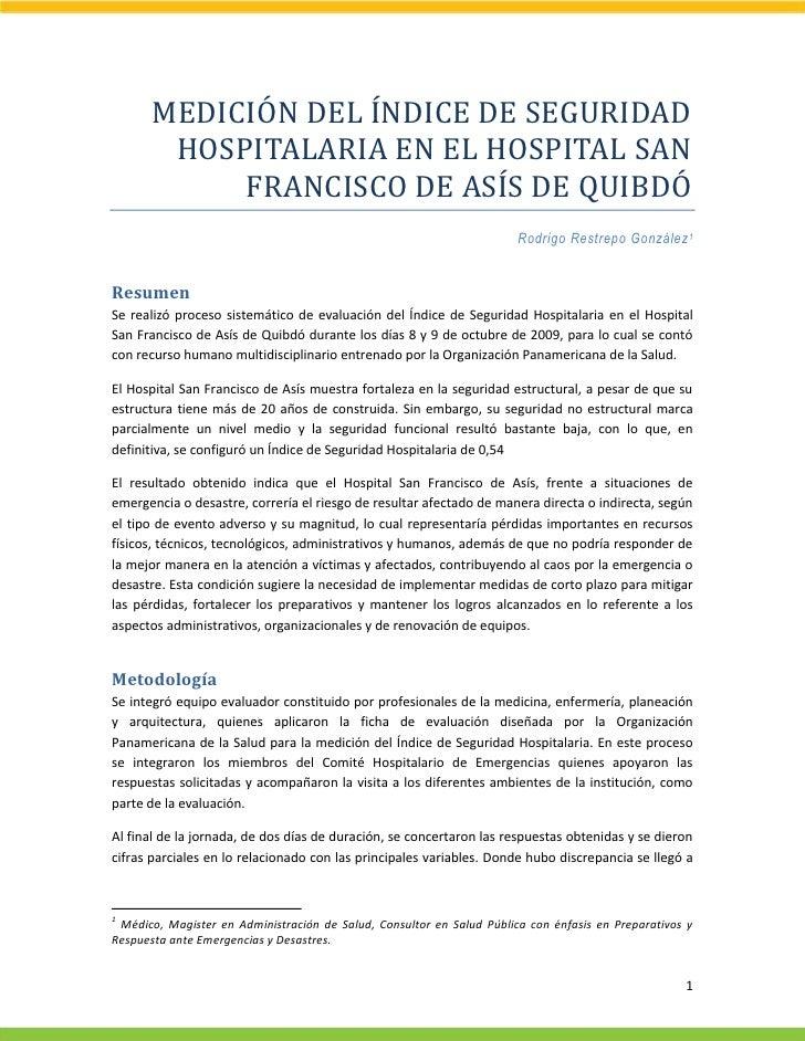 MEDICIÓN DEL ÍNDICE DE SEGURIDAD         HOSPITALARIA EN EL HOSPITAL SAN             FRANCISCO DE ASÍS DE QUIBDÓ          ...