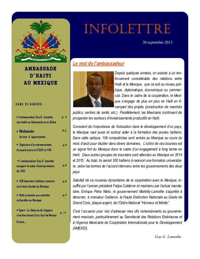 infolettre 30 septembre 2013  Le mot de l'ambassadeur AMBASSADE  Depuis quelques années, on assiste à un renforcement cons...
