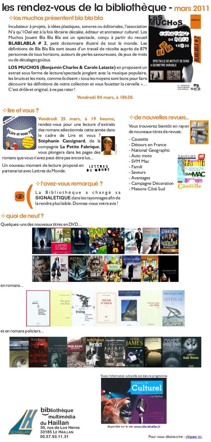 Les rendez-vous de la Bibliothèque - mars 2011    ² présentent bla bla bla    Los muchos    Incubateur à projets, à idées ...