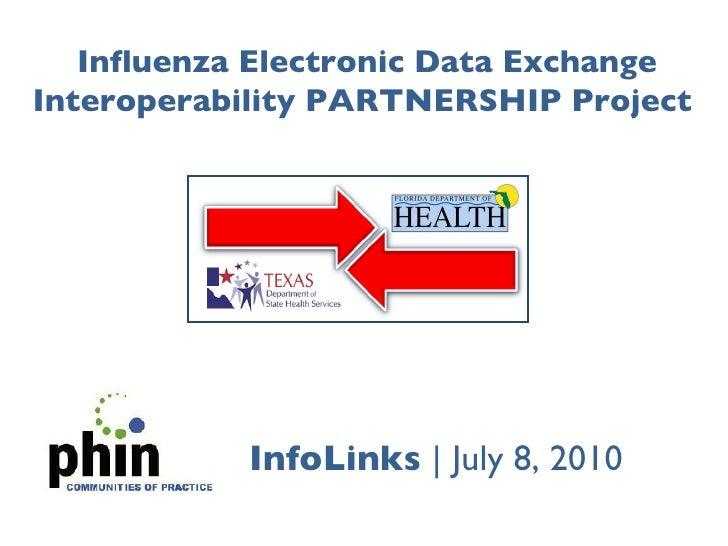 Influenza Electronic Data Exchange Interoperability PARTNERSHIP Project <br />InfoLinks  July 8, 2010<br />