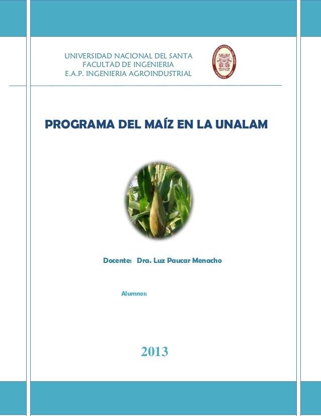 UNIVERSIDAD NACIONAL DEL SANTA FACULTAD DE INGENIERIA E.A.P. INGENIERIA AGROINDUSTRIAL  PROGRAMA DEL MAÍZ EN LA UNALAM  Do...