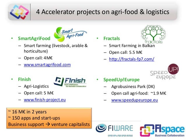 4 Accelerator projects on agri-food & logistics • SmartAgriFood – Smart farming (livestock, arable & horticulture) – Open ...