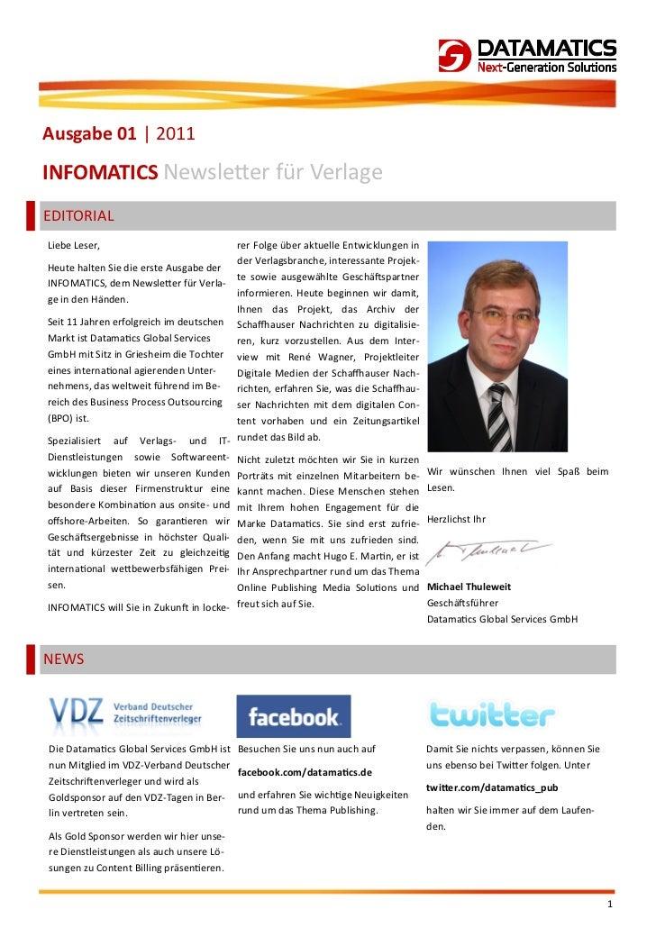 Ausgabe 01 | 2011INFOMATICS Newsletter für VerlageEDITORIALLiebe Leser,                            rer Folge über aktuelle...